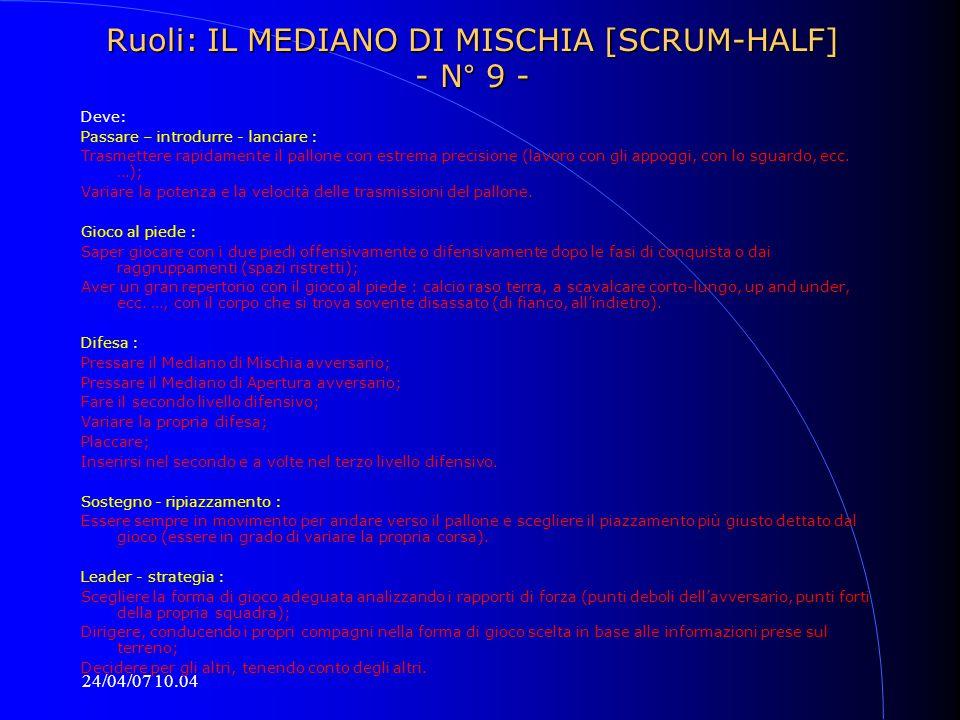 Ruoli: IL MEDIANO DI MISCHIA [SCRUM-HALF] - N° 9 -